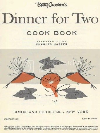 Charley Harper illustration for 'Dinner for Two' Betty Crocker cook book
