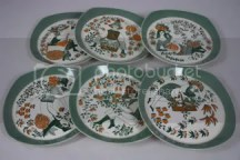 vintage folk decorated plates