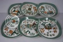 vintage folk decorated plates