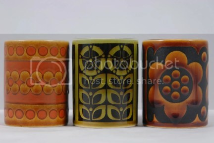 trio of vintage Hornsea pottery with floral decoration