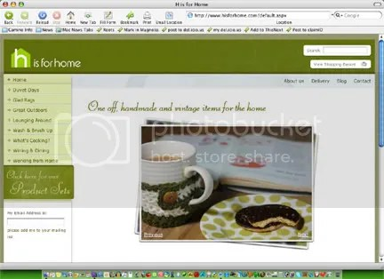 screen shot of H is for Home website