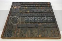 vintage printer's blocks in tray