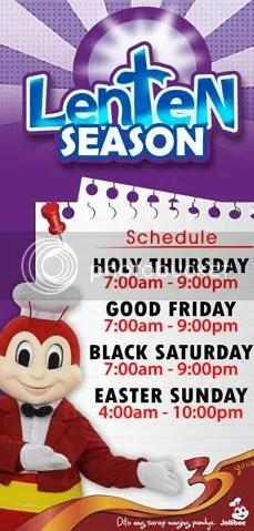 jollibee lenten season schedule