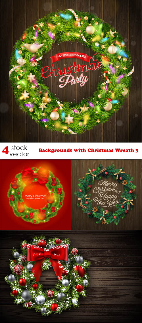 Vectors - Backgrounds with Christmas Wreath 3