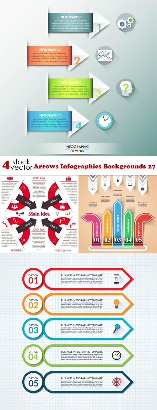 Vectors – Arrows Infographics Backgrounds 27