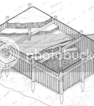 維特魯威提及既圍板法,水深之處較難採用
