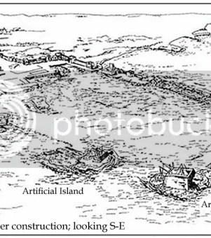 施工中的凱撒利亞港口復完圖