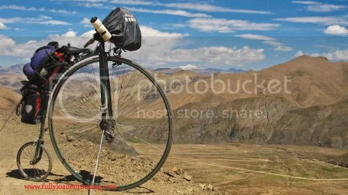 Touring Tibet on a high wheeler