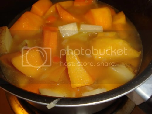 Veggies and broth in pot