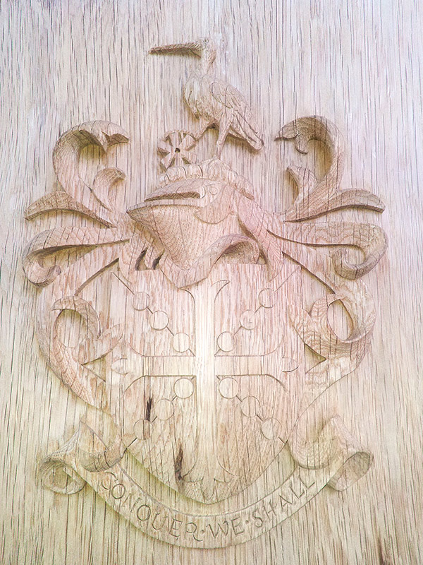 Carved school crest for a lectern. Oak. Private School, London.