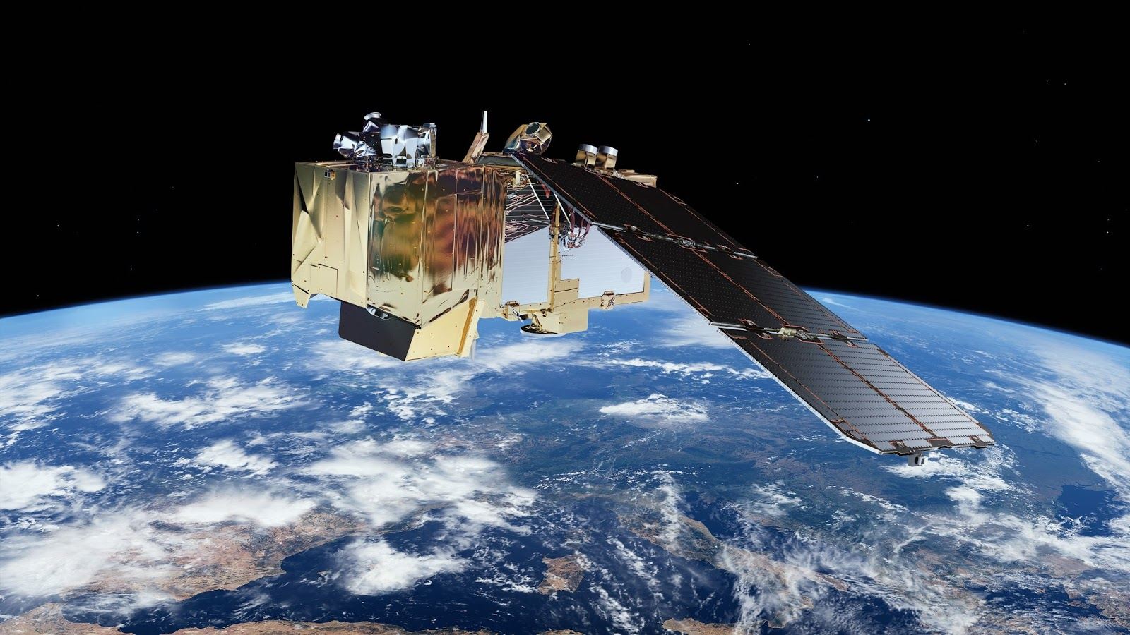 Sentinel 2A Orbiting the Earth with the Optical Laser Communications Terminal with IberEspacio Thermal Hardware