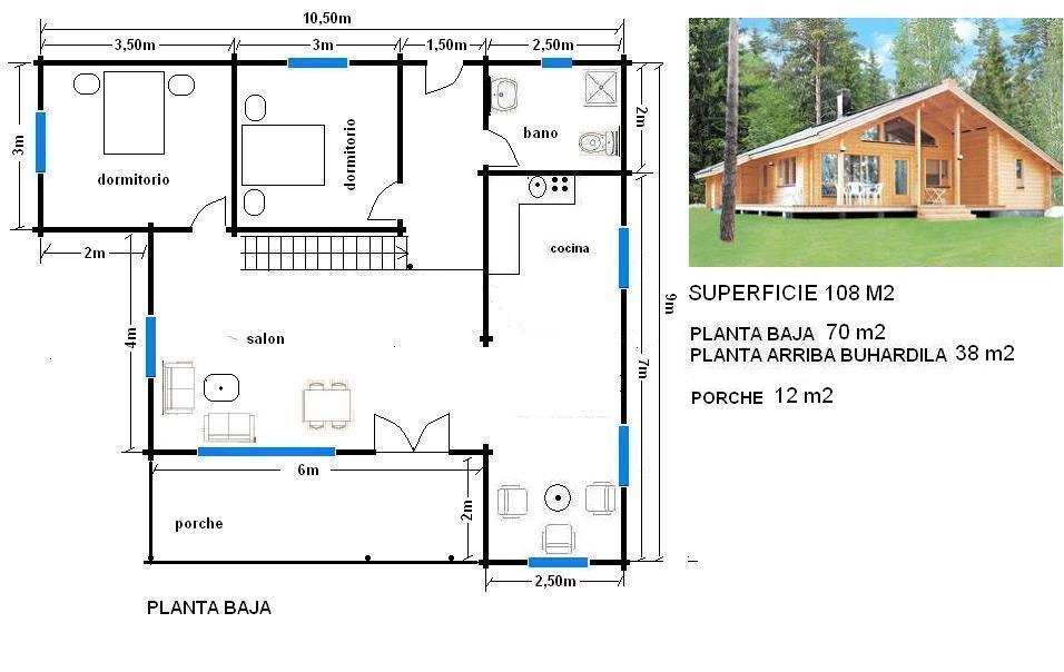Plano de casa de 108 m casas ecol gicas - Casas con buhardilla ...