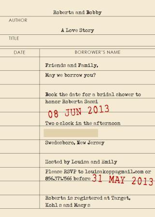 book shower invite librarycard