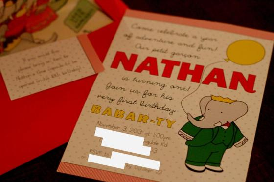 babar invite and envelope