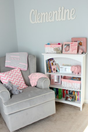 gray and pink nursery elephant shelf