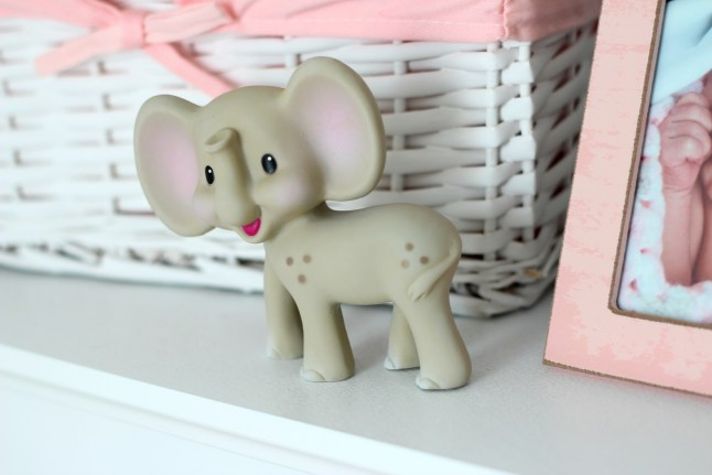 gray and pink nursery elephant toy