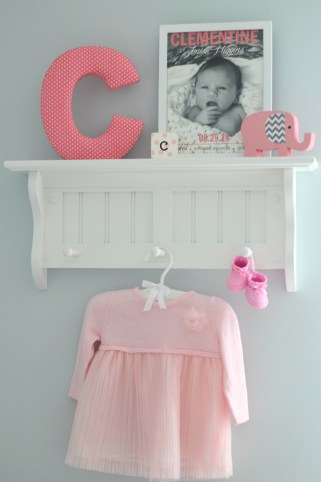 gray and pink nursery hanging shelf