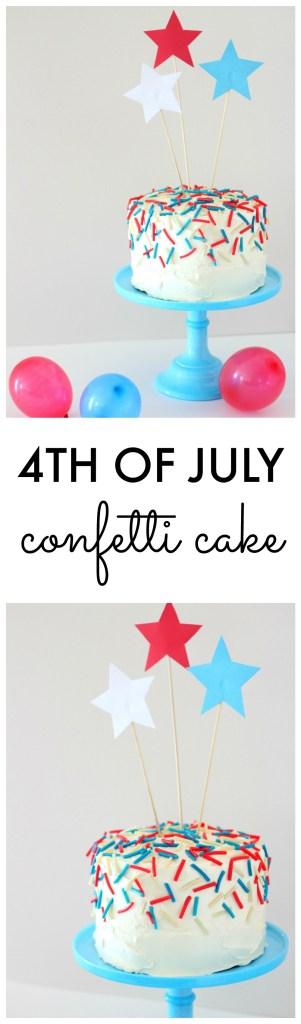 DIY 4th of July Confetti Cake Easy Decorating Idea