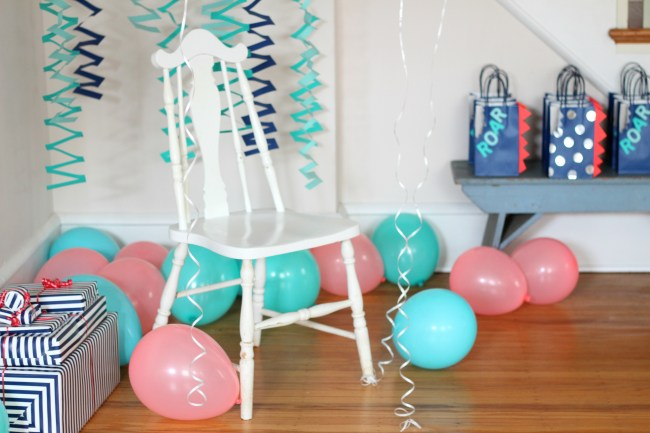 coral aqua and navy birthday party