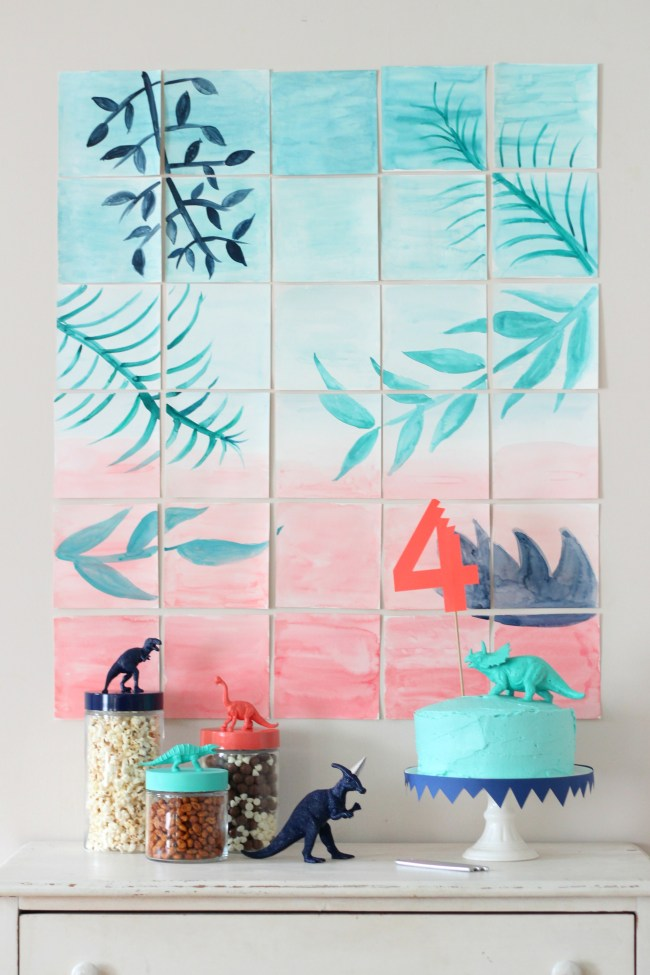 modern dinosaur party treat table