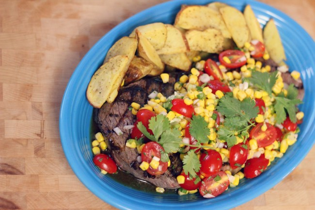 Grilled London Broil or Top Round Steak with Lime Corn Salad