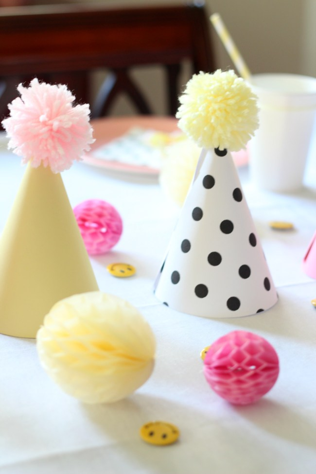 party hats and honeycomb