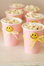 smiley face button popcorn cups
