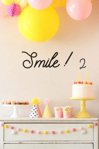 smiley face party treat table