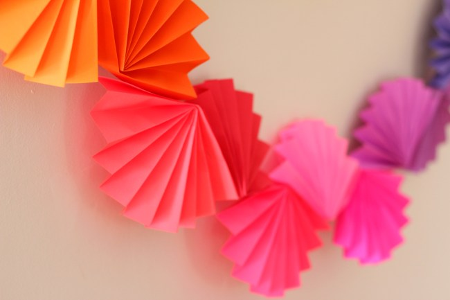 rainbow paper fan garland diy instructions