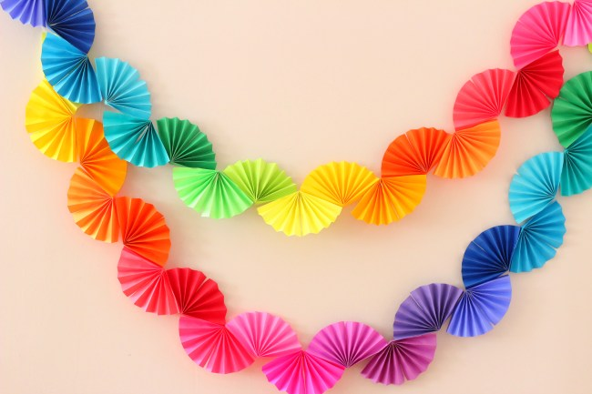 rainbow paper fan garland diy