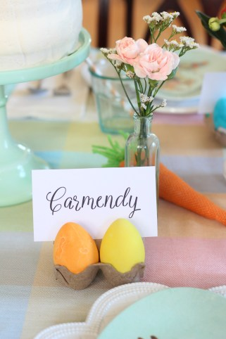 easter egg place card setting