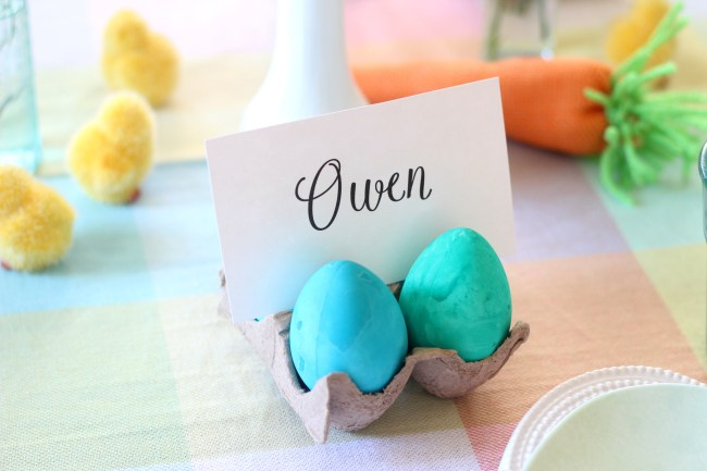 Easter Egg Decorating Party Place Card Idea