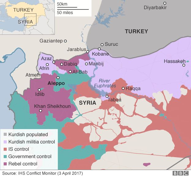 Map showing control of northern Syria (3 April 2017)