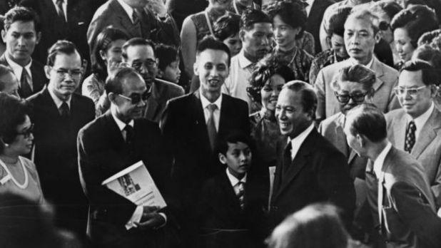 Tổng thống Nguyễn Văn Thiệu tại lễ khai trương một bệnh viện mới ở Sài Gòn. Ảnh chụp tháng 3/1973.