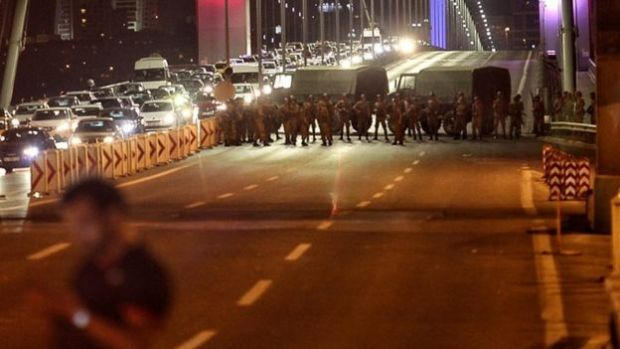 The Bosphorus bridge was blocked off by military units