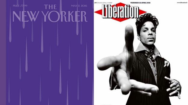 Front pages of the New Yorker and Liberation in tribute to Prince