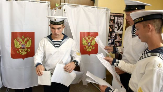 Black Sea Fleet sailors vote in the Crimean port of Sevastopol - 18 September