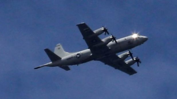A US P3 Orion surveillance aircraft seen flying over Marawi on Friday