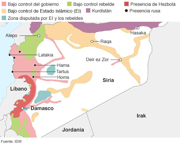 Mapa del conflicto en Siria
