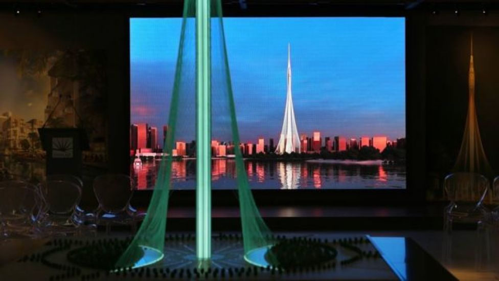 A model of the Tower Project at Dubai Creek Harbour Development designed by Spanish-Swiss architect Santiago Calatrava