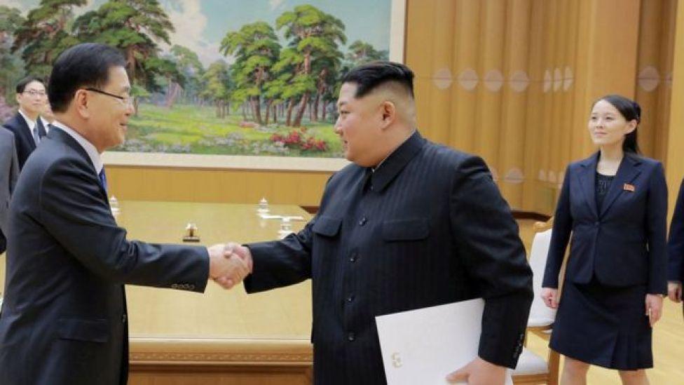 La hermana de Kim Jong-un también participó en el encuentro.