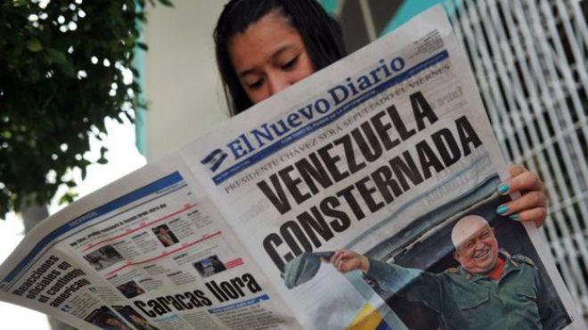 Portada de un diario nicaragüense con la noticia de la muerte de Chávez.