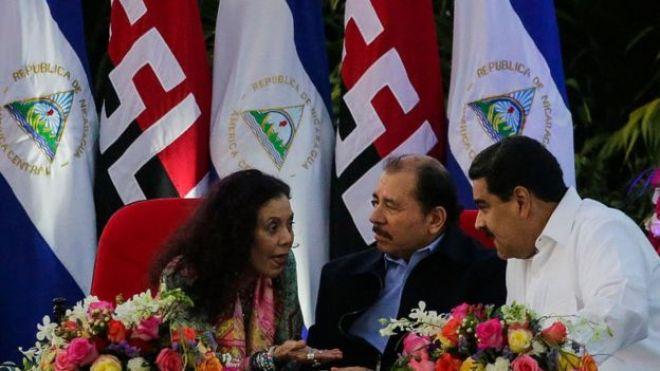 Rosario Murillo, Daniel Ortega y Nicolás Maduro