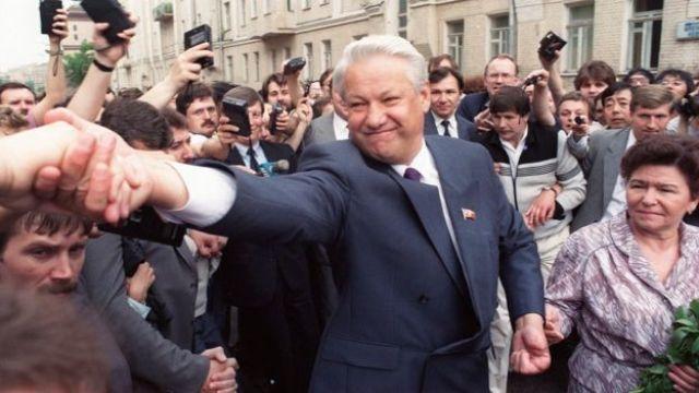 Boris Yeltsin en campaña
