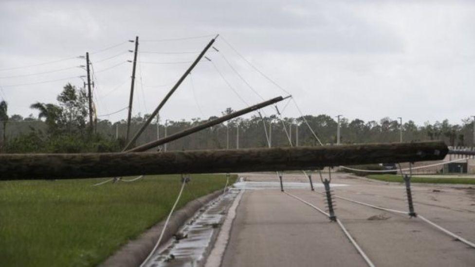 Downed power lines in Bonita Springs, Florida, 11 September