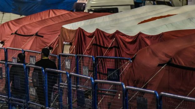 Tents for migrants are stored in Turkey