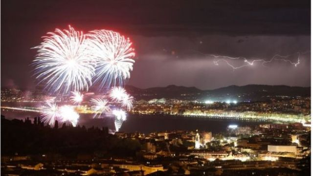Bastille Day fireworks in Nice, France