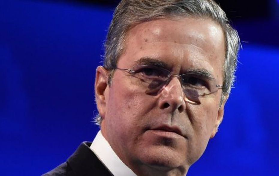 Former Florida Governor Jeb Bush looks on at the Colorado presidential debate.