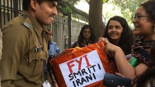 Protesters outside Smriti Irani's office