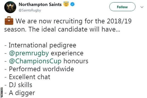 Northampton Saints tweet